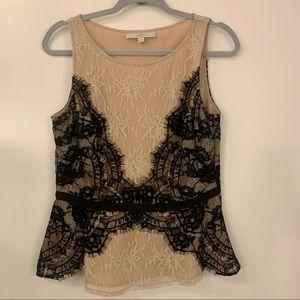 Ann Taylor LOFT lace sleeveless top - 8 Petites